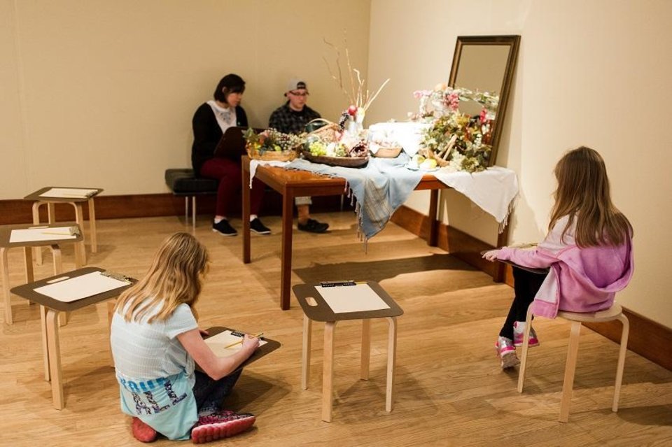 Photo - Oklahoma City Museum of Art visitors sketch a still life inside the first-floor special exhibitions gallery during the 2017 traveling exhibition
