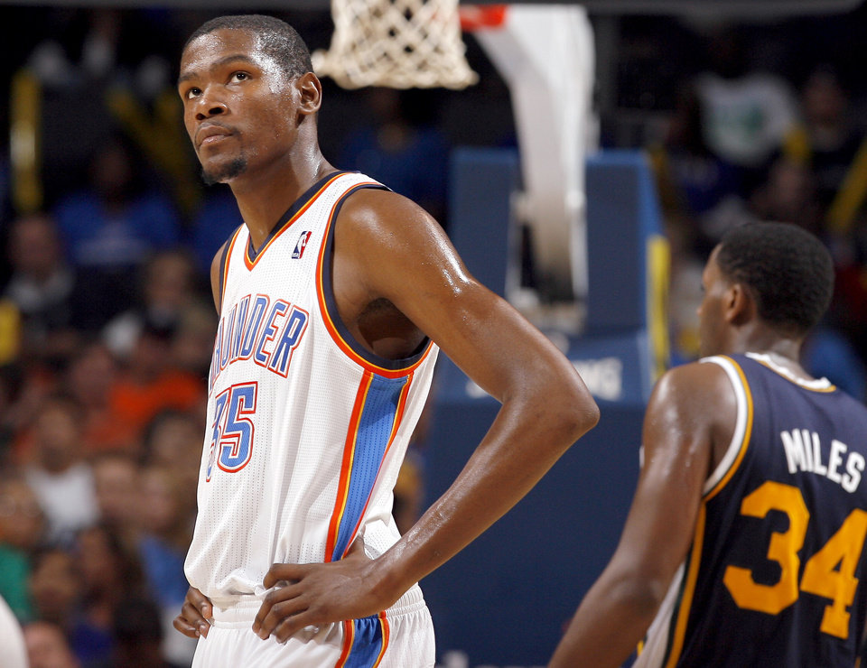 Photo - Oklahoma City's Kevin Durant reacts to the Thunder's loss in final minutes of the NBA basketball game between the Oklahoma City Thunder and Utah Jazz in the Oklahoma City Arena on Sunday, Oct. 31, 2010. Photo by Sarah Phipps, The Oklahoman