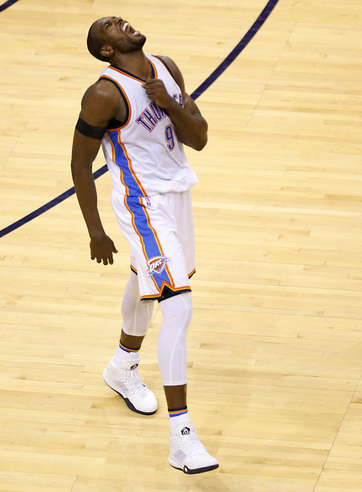 Photo - Oklahoma City's Serge Ibaka (9) reacts after missing a shot during Game 3 of the Western Conference finals in the NBA playoffs between the Oklahoma City Thunder and the Golden State Warriors at Chesapeake Energy Arena in Oklahoma City, Sunday, May 22, 2016. Photo by Sarah Phipps, The Oklahoman