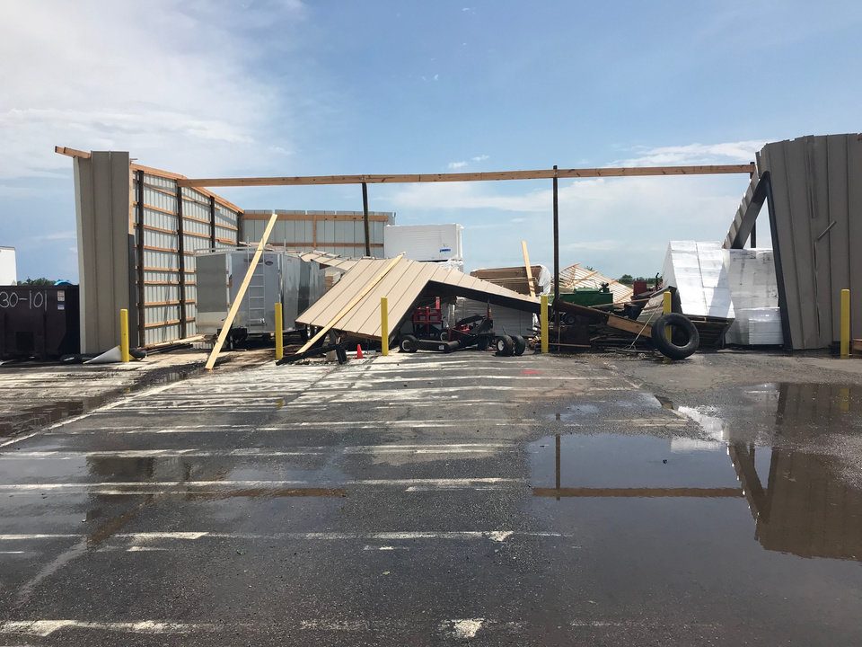 Photo - A work shop building at roofing business in Chickasha was damaged in storms Tuesday in Grady County. Photo provided by Grady County Emergency Management Agency.