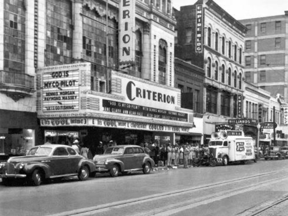 Photo -  The Criterion Theater, shown in this Oklahoman archive photograph, was considered one of the city's most iconic cinemas. The facade featured a glass curtain wall above the marquee.
