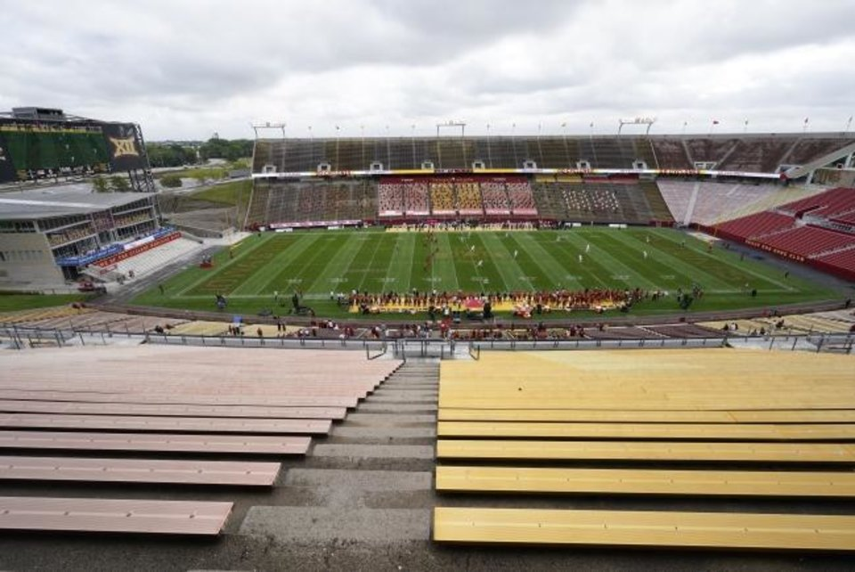 Photo -  Jack Trice Stadium was virtually empty for the opening kickoff of Louisiana-Lafayette's 31-14 win Saturday at Iowa State. [AP Photo/Charlie Neibergall]