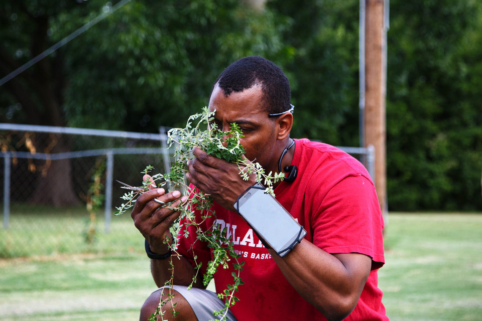 Photo -  The Rev. Jamaal Jackson, associate pastor at Generations Church, smells fresh herbs he picked in the church's community garden in Norman. [Photo by Anya Magnuson, The Oklahoman]