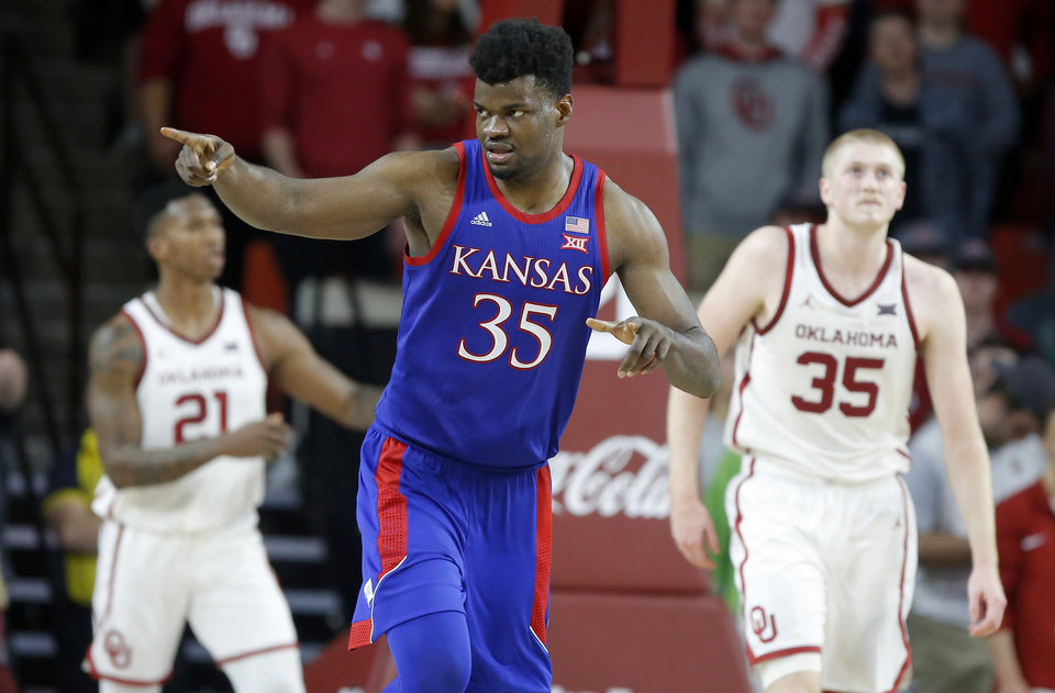Photo - Kansas' Udoka Azubuike (35) gestures after a Kansas basket during an NCAA college basketball game between the University of Oklahoma Sooners (OU) and the University of Kansas Jayhawks at Lloyd Noble Center in Norman, Okla., Tuesday, Jan. 14, 2020. Oklahoma lost 66-52.  [Bryan Terry/The Oklahoman]