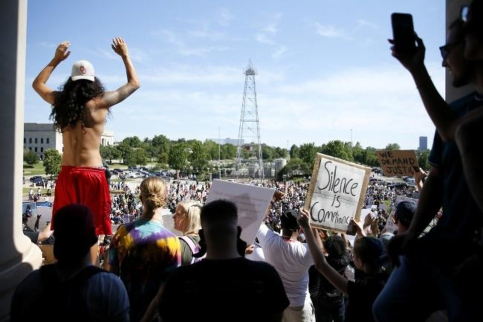 Photo -  Protesters chant Sunday during a Black Lives Matter rally at the Oklahoma State Capitol. [Bryan Terry/The Oklahoman]