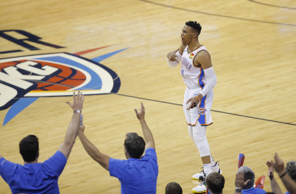 Photo - Oklahoma City's Russell Westbrook (0) celebrates after making a 3-pointer during Game 4 in the first round of the NBA playoffs between the Portland Trail Blazers and the Oklahoma City Thunder at Chesapeake Energy Arena in Oklahoma City, Sunday, April 21, 2019. Photo by Bryan Terry, The Oklahoman