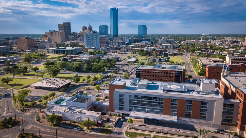Photo - Drone image of Midtown, including SSM Health St. Anthony Hospital - Oklahoma City, Walker circle, and the downtown skyline. Image by Dave Morris.
