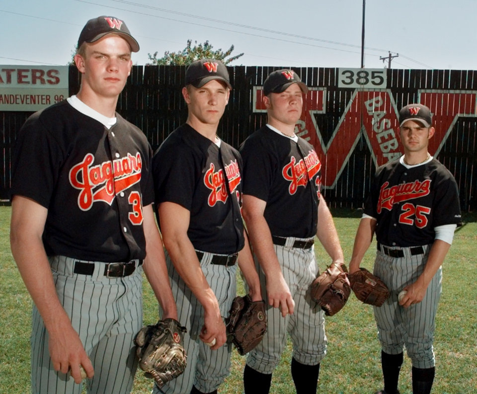 Photo - Westmoore high school baseball pitchers. Billy Bajema, Nathan Sturdivant, Brett Stephens & Blake Honeycutt.