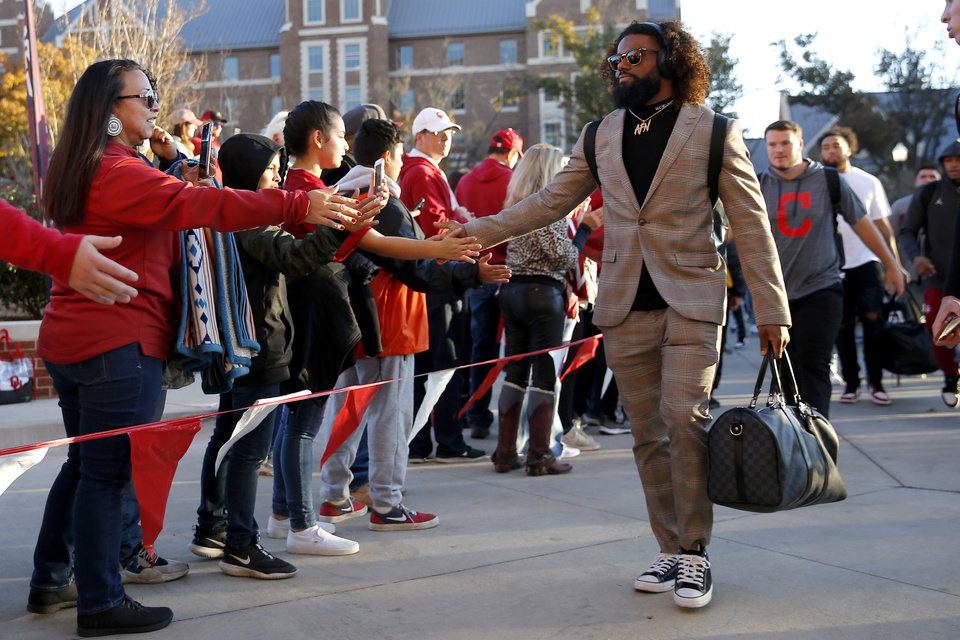 Photo - Oklahoma's Brendan Radley-Hiles arrives before an NCAA football game between the University of Oklahoma Sooners (OU) and the Iowa State University Cyclones at Gaylord Family-Oklahoma Memorial Stadium in Norman, Okla., Saturday, Nov. 9, 2019. [Bryan Terry/The Oklahoman]