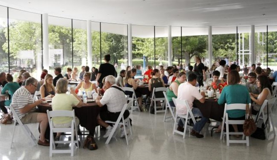 Photo -  People gather at the Myriad Gardens to eat at the 2013 OK Chefs Relief. [Oklahoman Archive photo]