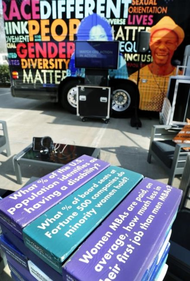 "Photo -  The CEO Action for Diversity & Inclusion's ""Check Your Blind Spots"" exhibit is touring the nation as part of an initiative to make people aware of unconscious bias."