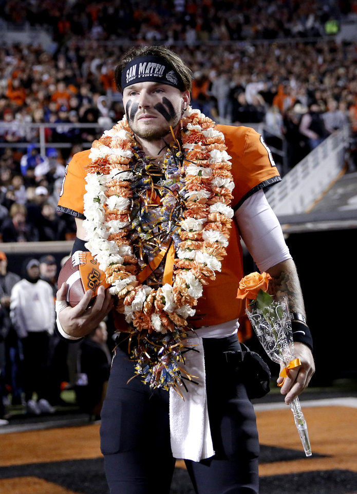 Photo - Oklahoma State's Dru Brown (6) is introduced during senior night before the Bedlam college football game between the Oklahoma State Cowboys (OSU) and Oklahoma Sooners (OU) at Boone Pickens Stadium in Stillwater, Okla., Saturday, Nov. 30, 2019. OU won  34-16. [Sarah Phipps/The Oklahoman]