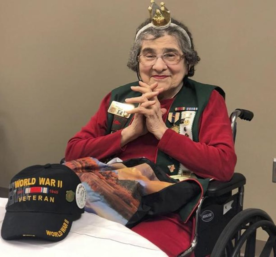 Photo -  Mary Glann, a World War II Marine Corps veteran, was surprised with a celebration for her 96th birthday. [PHOTO PROVIDED]