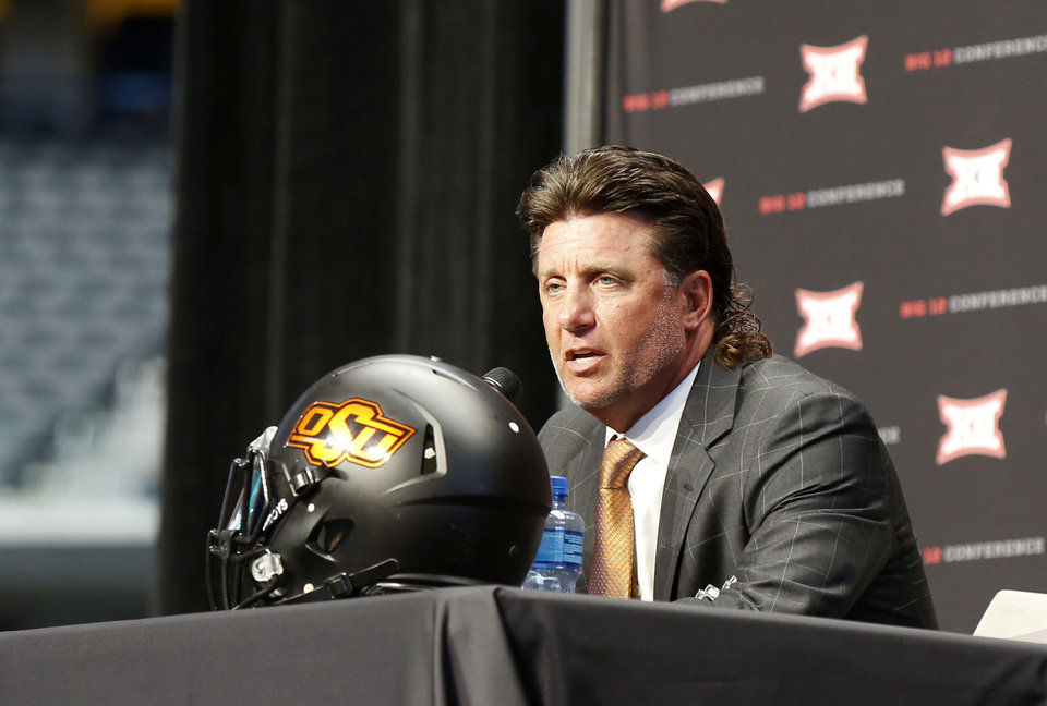 Photo - OSU head coach Mike Gundy at the Big 12 Media Day at AT&T Stadium in Dallas, TX, July 15, 2019. STEPHEN PINGRY/Tulsa World