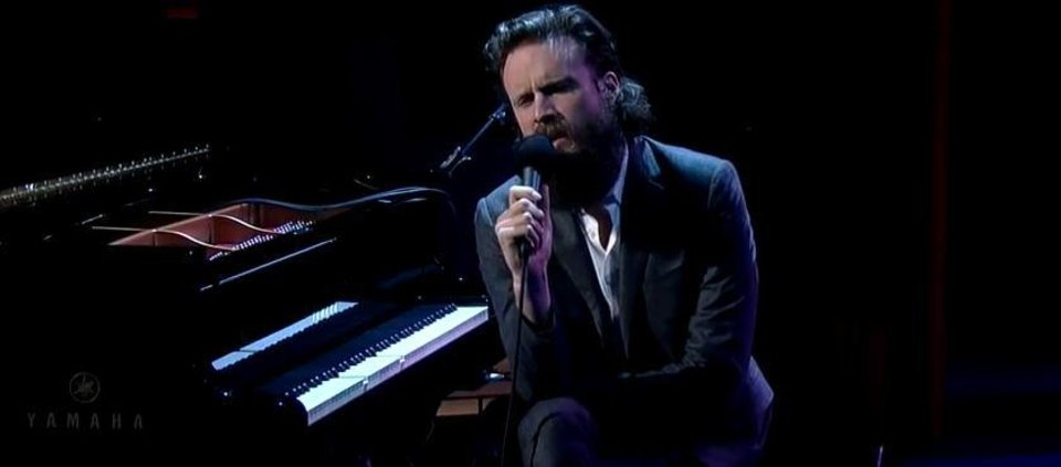 "Photo - Josh Tillman performs ""Bored in the USA"" on ""David Letterman"" in November, 2014."
