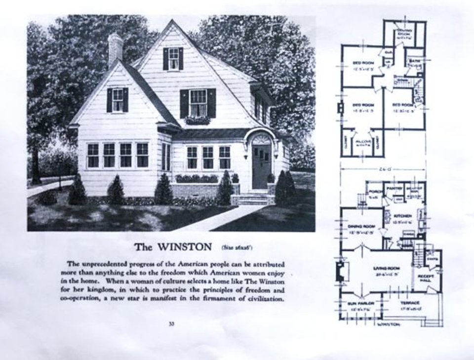 Photo -  Original house plan for the 1920s Winston plan by Sears. The caption reads:
