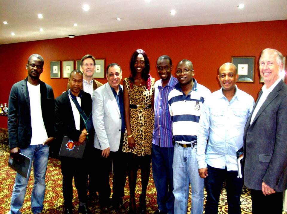 Photo -  While in Johannesburg, South Africa, and Abidjan, the Ivory Coast, Wes Lane, far right, met with various community leaders to help them establish a SALLT group in their cities.