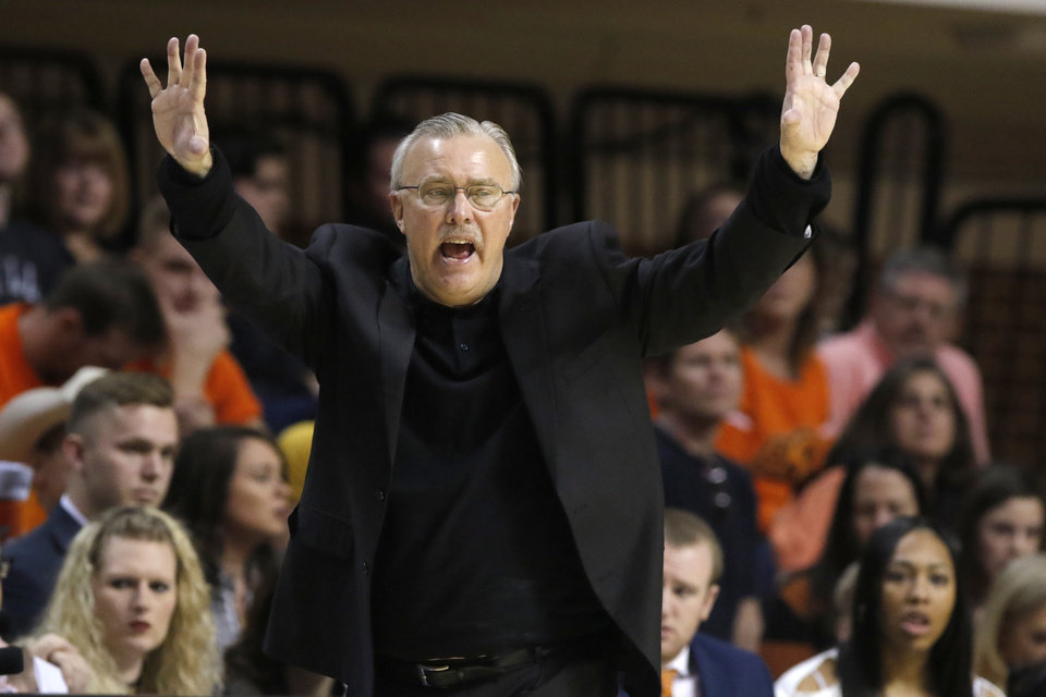 Photo - Oklahoma State coach Jim Littell gestures during a college basketball between the Oklahoma State University Cowgirls (OSU) and the University of Texas Longhorns at Gallagher-Iba Arena in Stillwater, Saturday, Feb. 17, 2018. Texas won 77-62. Photo by Bryan Terry, The Oklahoman