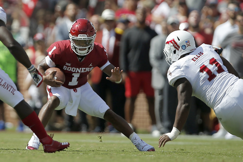 Photo -  Oklahoma's Kyler Murray (1) scrambles around Ray Ellis (11) and seemingly the entire Florida Atlantic defense in a 63-14 season-opening win on Sept. 1. [Photo by Bryan Terry, The Oklahoman]
