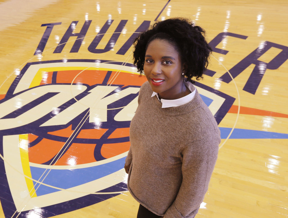 Photo - Ayana Lawson is the Thunder's director of player services in Oklahoma City, Okla. Wednesday, Jan. 4, 2017.  Photo by Paul Hellstern, The Oklahoman