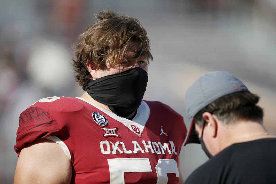 Photo - Oklahoma's Creed Humphrey (56) before a college football game between the University of Oklahoma Sooners (OU) and the Kansas State Wildcats at Gaylord Family-Oklahoma Memorial Stadium in Norman, Okla., Friday, Sept. 25, 2020. Kansas State won 38-35. [Bryan Terry/The Oklahoman]