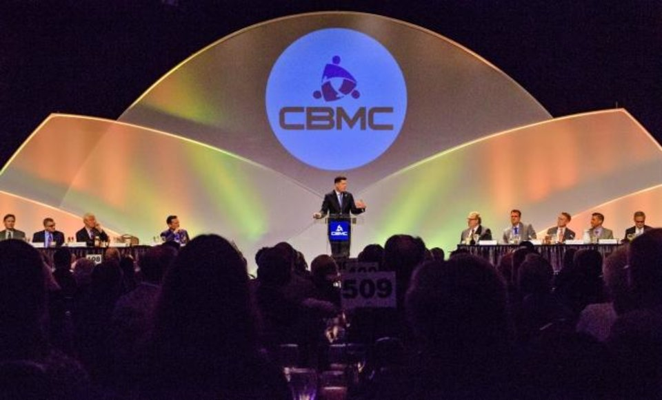 Photo -  Mayor David Holt speaks to those gathered last year for the CBMC Metro Prayer Breakfast at the Cox Convention Center in Oklahoma City. This year's event has been postponed until July. [Photo by Chris Landsberger/The Oklahoman Archives]