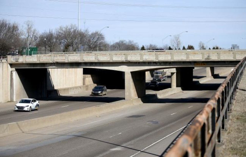 Photo -  The Northwest 23rd Street bridge is pictured looking north on Interstate 35 in Oklahoma City,  Wednesday, Feb. 19, 2020.  [Sarah Phipps/The Oklahoman]