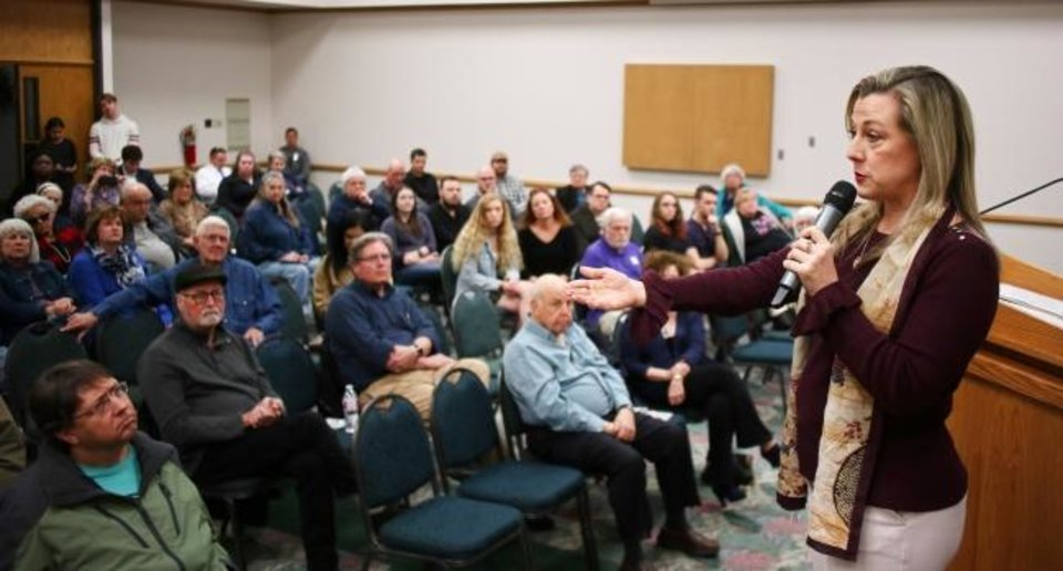 Photo -  U.S. Rep. Kendra Horn holds a town hall meeting last February at Oklahoma City Community College. [Photo by Doug Hoke/The Oklahoman Archives]