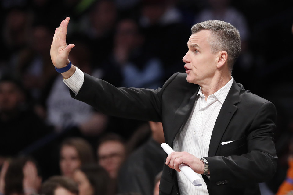 Photo - Oklahoma City Thunder head coach Billy Donovan gestures during the first half of an NBA basketball game against the Brooklyn Nets, Tuesday, Jan. 7, 2020, in New York. (AP Photo/Kathy Willens)