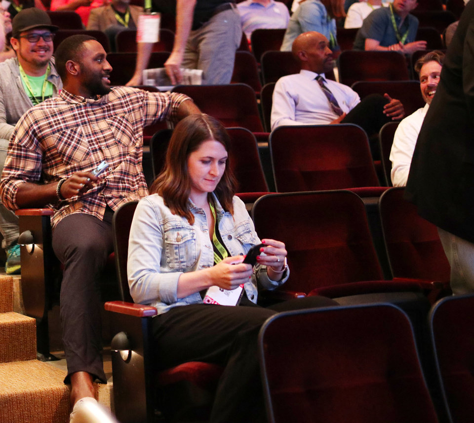 "Photo - Thunder player and movie critic, Patrick Patterson gets an aisle seat for the showing of ""Jump Shot"" at opening night for deadCenter at the Oklahoma City Museum of Art, Thursday, June 6, 2019. [Doug Hoke/The Oklahoman]"