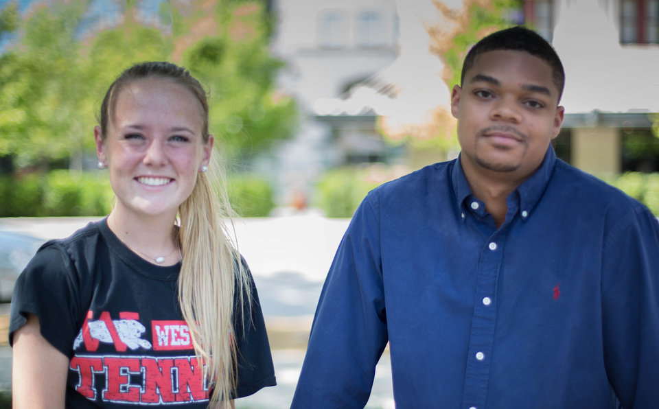 Photo - Haylee Harris of Westmoore High School and Kia-Jana Jackson of Millwood High School are two student athletes who have been successful on and off the field. Photo Brian Collins.