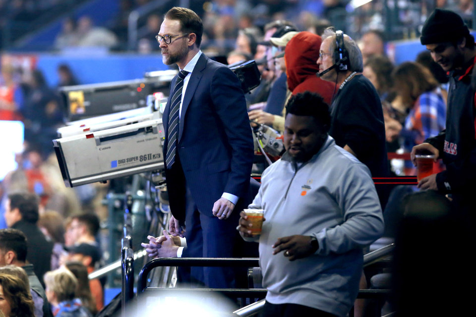 Photo - Thunder general manager Sam Presti stands before an NBA basketball game between the Oklahoma City Thunder and Houston Rockets at Chesapeake Energy Arena in Oklahoma City, Thursday, Jan. 9, 2020. [Bryan Terry/The Oklahoman]