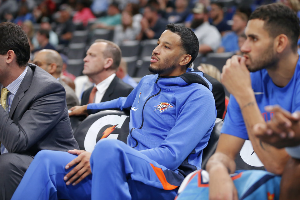 Photo - Oklahoma City's Andre Roberson sits on the bench during an NBA preseason basketball game between the Oklahoma City Thunder and the Memphis Grizzlies at Chesapeake Energy Arena in Oklahoma City, Wednesday, Oct. 16, 2019. [Bryan Terry/The Oklahoman]