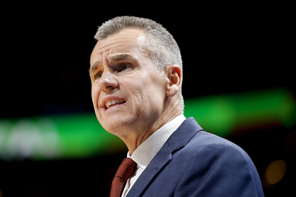 Photo - Oklahoma City coach Billy Donovan shouts towards an official during an NBA basketball game between the Oklahoma City Thunder and the Sacramento Kings at Chesapeake Energy Arena in Oklahoma City, Sunday, Oct. 21, 2018. Photo by Bryan Terry, The Oklahoman
