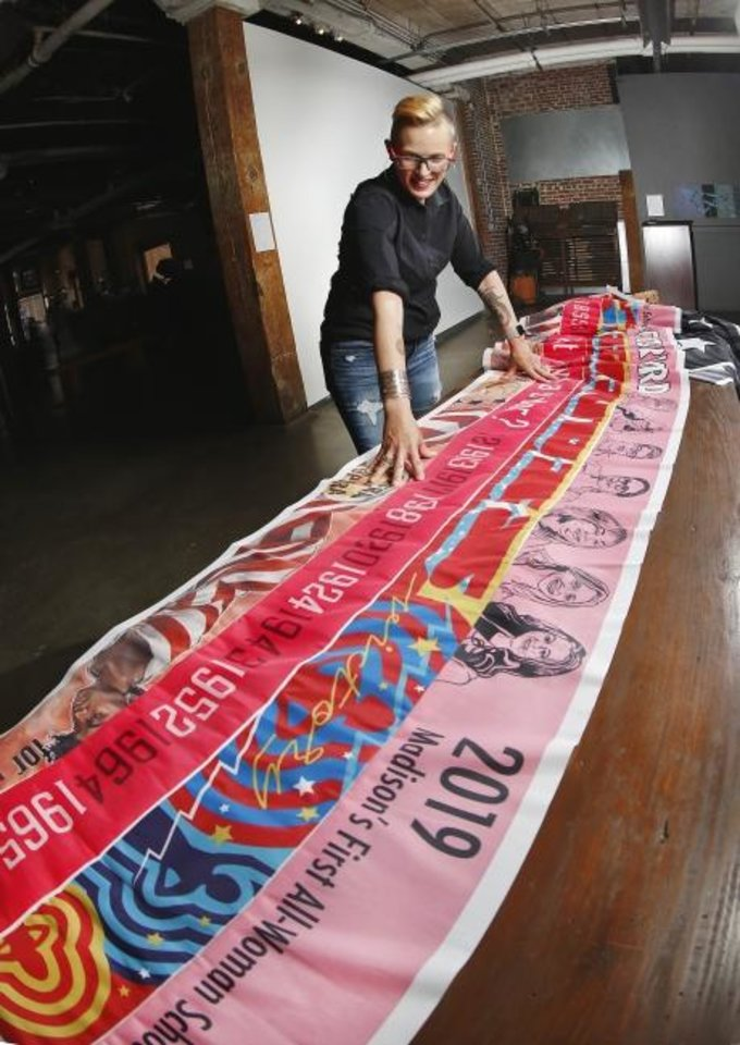 Photo -  Marilyn Artus is an artist from Oklahoma City who is traveling to all 36 states that ratified the 19th Amendment to the U.S. Constitution with a goal of completing the project,