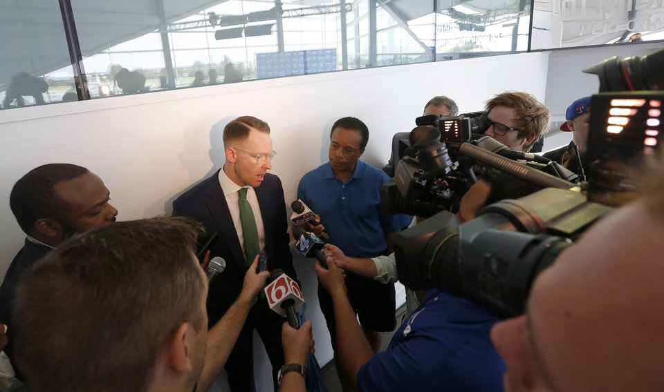 Photo - Oklahoma City Thunder general manger speaks to the media following an introductory press conference a the CHK | Central Boathouse in Oklahoma City, Saturday, June 24, 2017. Photo by Sarah Phipps, The Oklahoman