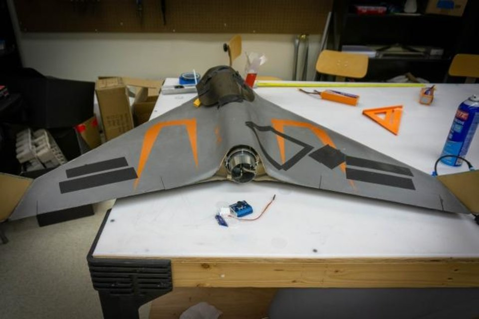 Photo -  A Tornado Intercept Vehicle (TIV) is under development at the Unmanned Systems Research Institute for severe storm research. [PROVIDED]