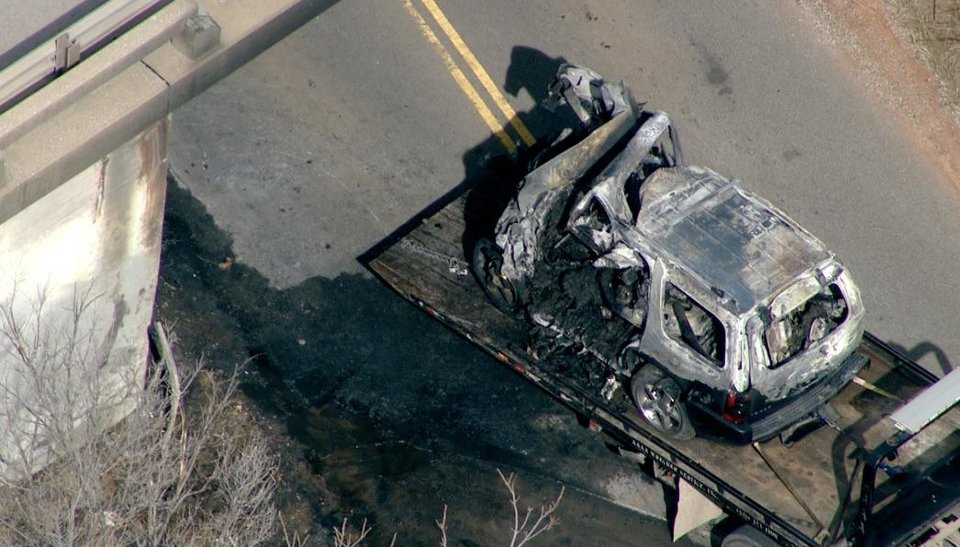 Photo - Aubrey McClendon died after his vehicle crashed into a bridge on Midwest Boulevard between Memorial and NE 122 around 9:00 a.m., Wednesday, March 2, 2016,  the Oklahoma City Fire Department reported. This is a frame grab from video that KFOR-TV had from the scene.