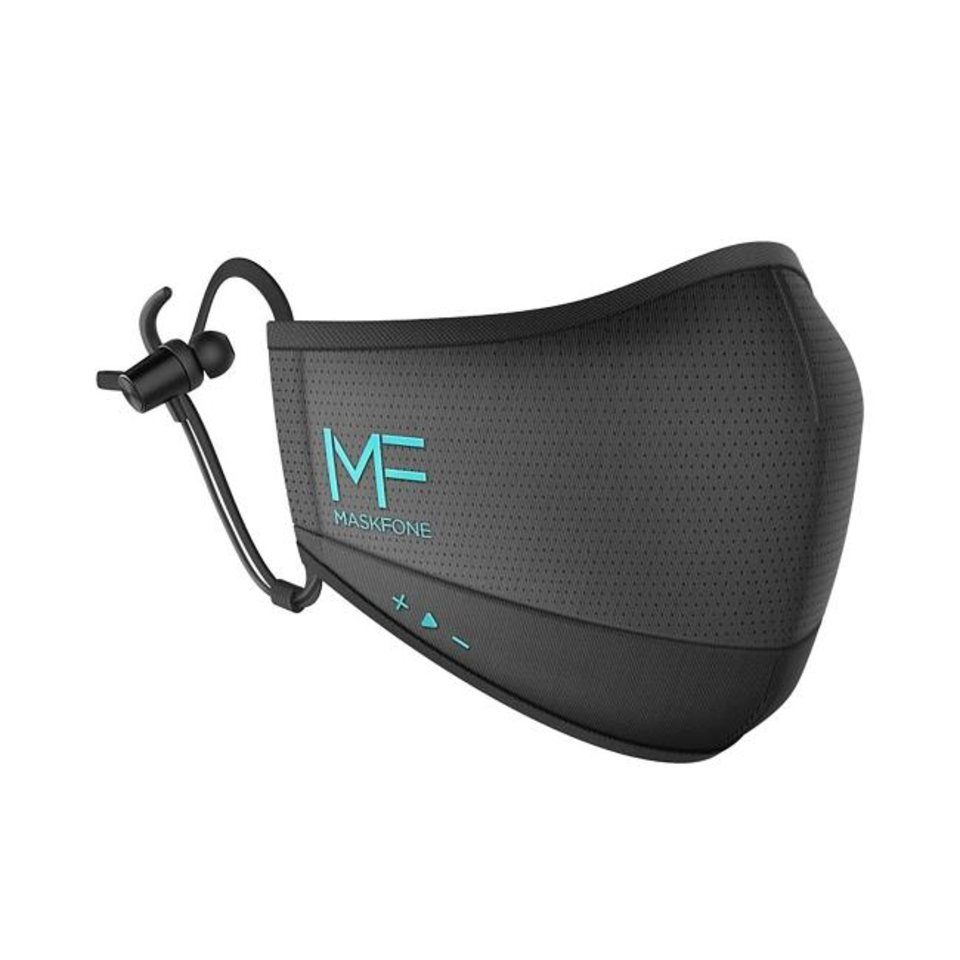 Photo -  The MaskFone comes with wireless earbuds attached and built-in volume controls. [MaskFone.com]
