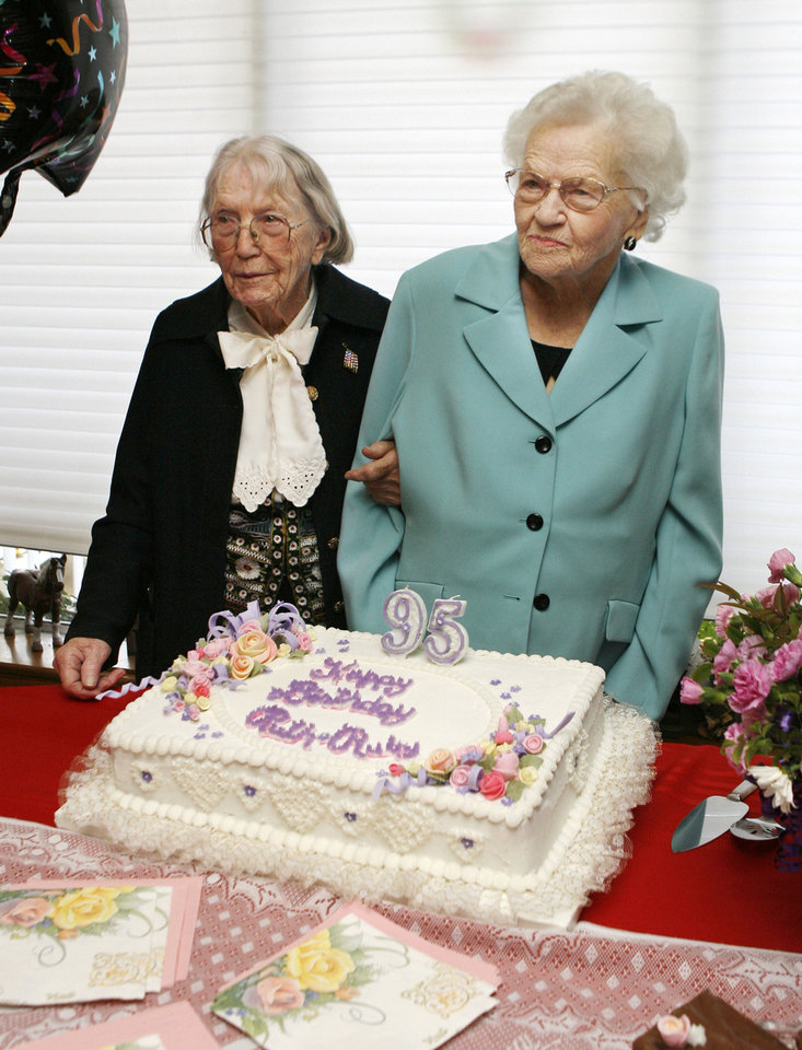 Photo - 95: Twins Ruby Woods and Ruth Martin celebrate their 95th birthday together with a party in northwest Oklahoma City, OK, Saturday, Dec. 6, 2008. BY PAUL HELLSTERN, THE OKLAHOMAN ORG XMIT: KOD  PAUL HELLSTERN