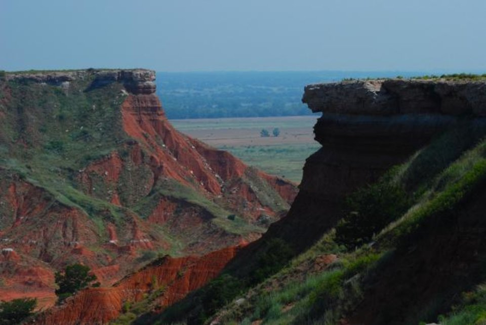 Photo -  Gloss Mountain State Park has ample opportunities for hiking and enjoying the view of the landscape.  [Lisha Newman/Oklahoma Tourism]