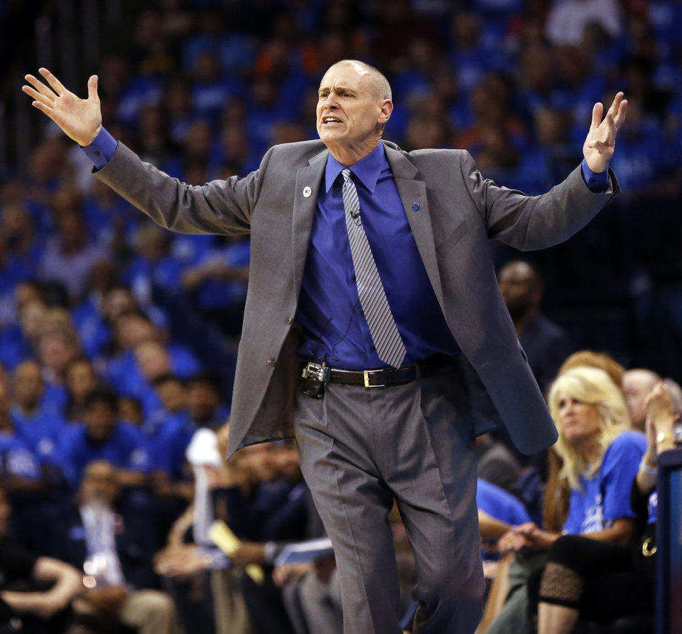 Photo - Dallas coach Rick Carlisle reacts during Game 5 of the first round series between the Oklahoma City Thunder and the Dallas Mavericks in the NBA playoffs at Chesapeake Energy Arena in Oklahoma City, Monday, April 25, 2016. Photo by Nate Billings, The Oklahoman