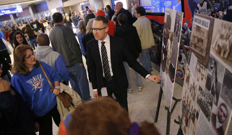 Photo - Sam Presti talks with fans  about the Black Fives Foundation before the NBA game between the Oklahoma City Thunder and the Utah Jazz at the Chesapeake Energy Arena, Friday, Feb. 22, 2019. Photo by Sarah Phipps, The Oklahoman