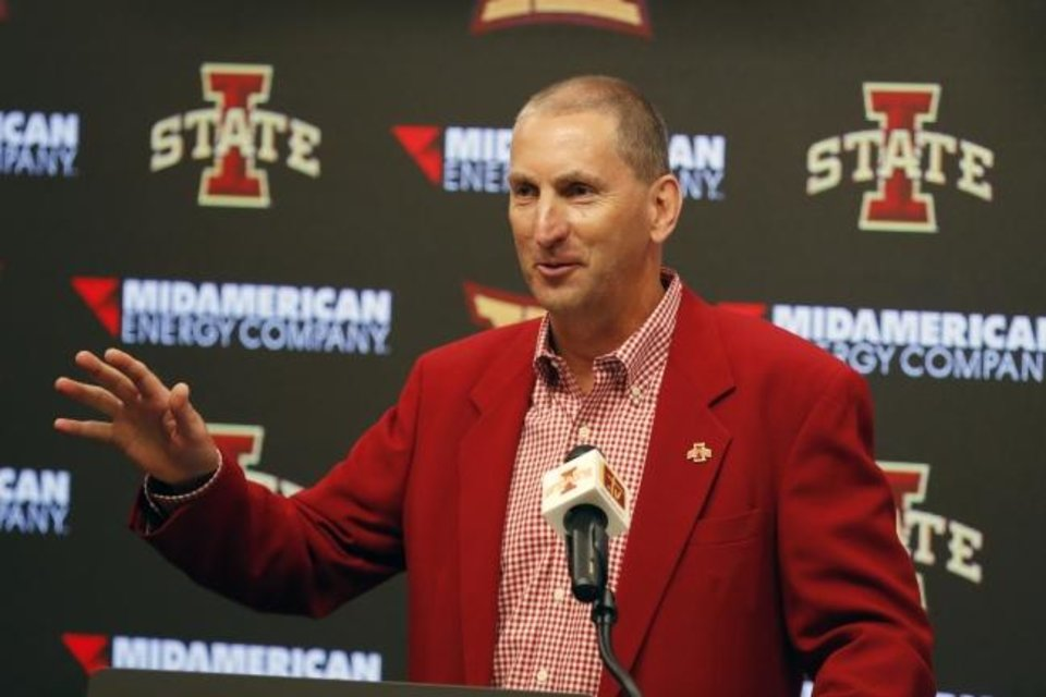Photo -  Iowa State athletic director Jamie Pollard announced a one-year, temporary pay reduction for coaches and certain staff to save more than $3 million. [AP Photo/Charlie Neibergall]