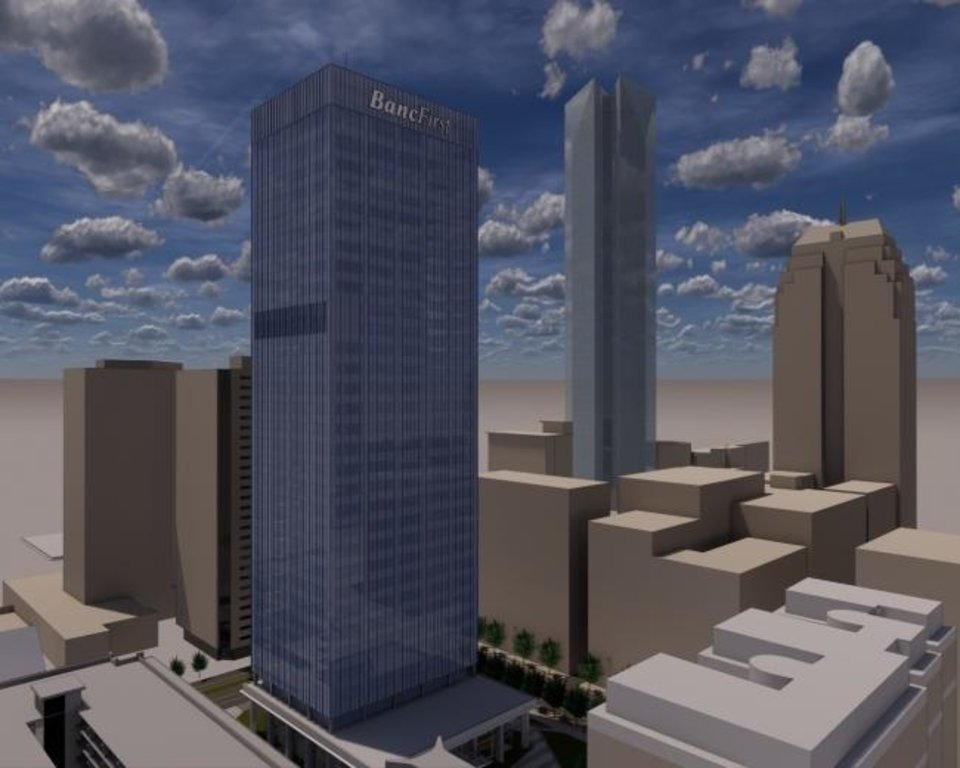 Photo -  The $63 million makeover of BancFirst Tower, originally home to Liberty Bank, will include an all new blue-tinted glass exterior as part of amended plans being submitted to the Downtown Design Review Committee. [RENDERING BY BOCKUS-PAYNE ARCHITECTS]
