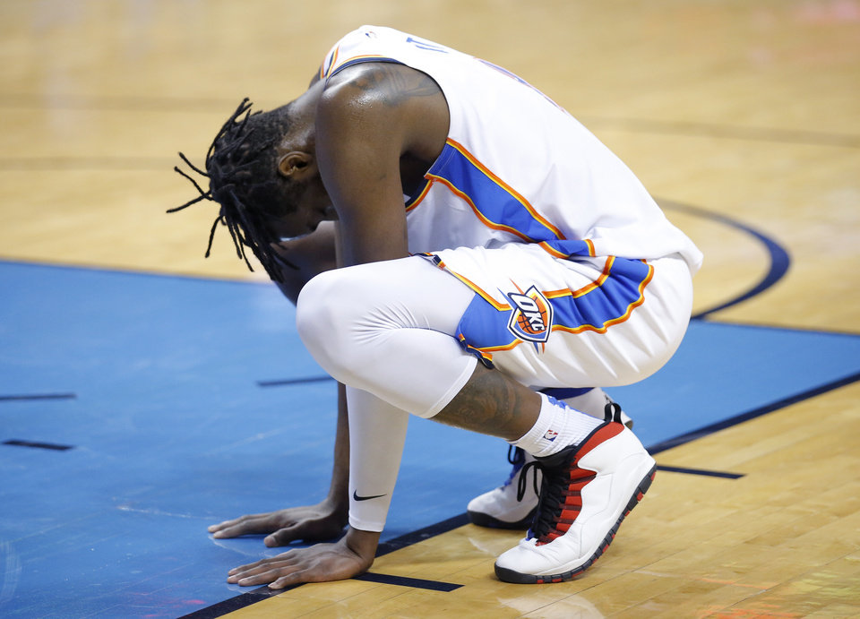 Photo - Oklahoma City's Jerami Grant (9) reacts following an injury to Nerlens Noel (3) during the NBA game between the Oklahoma City Thunder and Minnesota Timberwolves at the Chesapeake Energy Arena, Tuesday, Jan. 8, 2019. Photo by Sarah Phipps, The Oklahoman