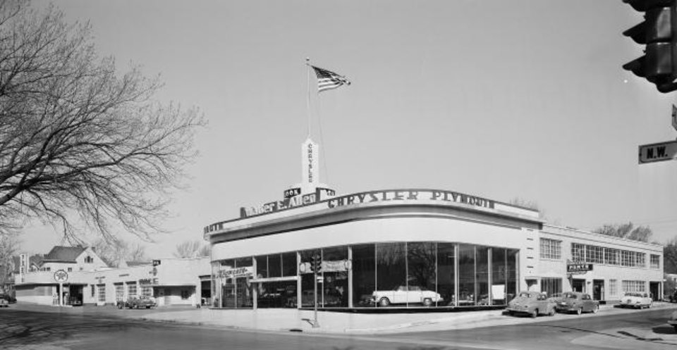 Photo -  The former Walter E. Allen Chrysler Plymouth dealership at 301 NW 13, more recently home to Able Rents, has been sold to the Pivot Project for $1.8 million. [PROVIDED BY Oklahoma Historical Society]
