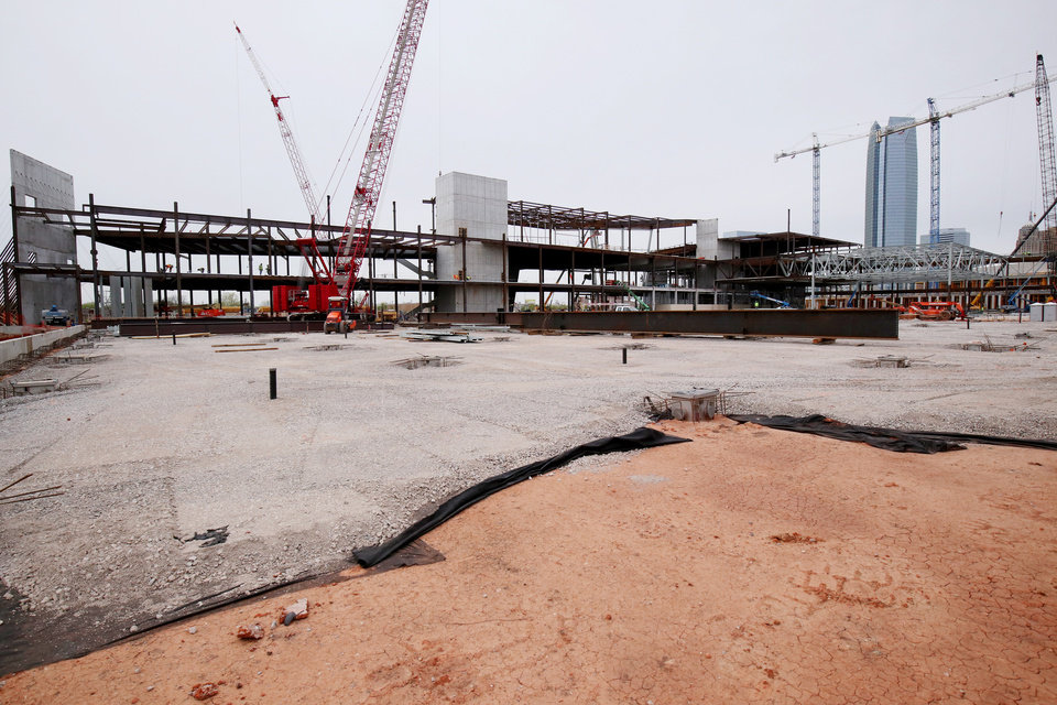 Photo - View from what will be the SE corner of the main exhibit hall, which is as large as four football fields. City of Oklahoma City tour of the construction site for the new convention center, Friday, April 12, 2019. Photo by Doug Hoke/The Oklahoman
