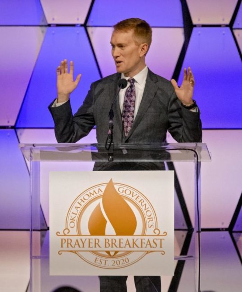 Photo -  U.S. Sen. James Lankford, R-Oklahoma City, speaks during the  Oklahoma Governor's Prayer Breakfast on Tuesday at the National Cowboy and Western Heritage Museum. [Chris Landsberger/The Oklahoman]