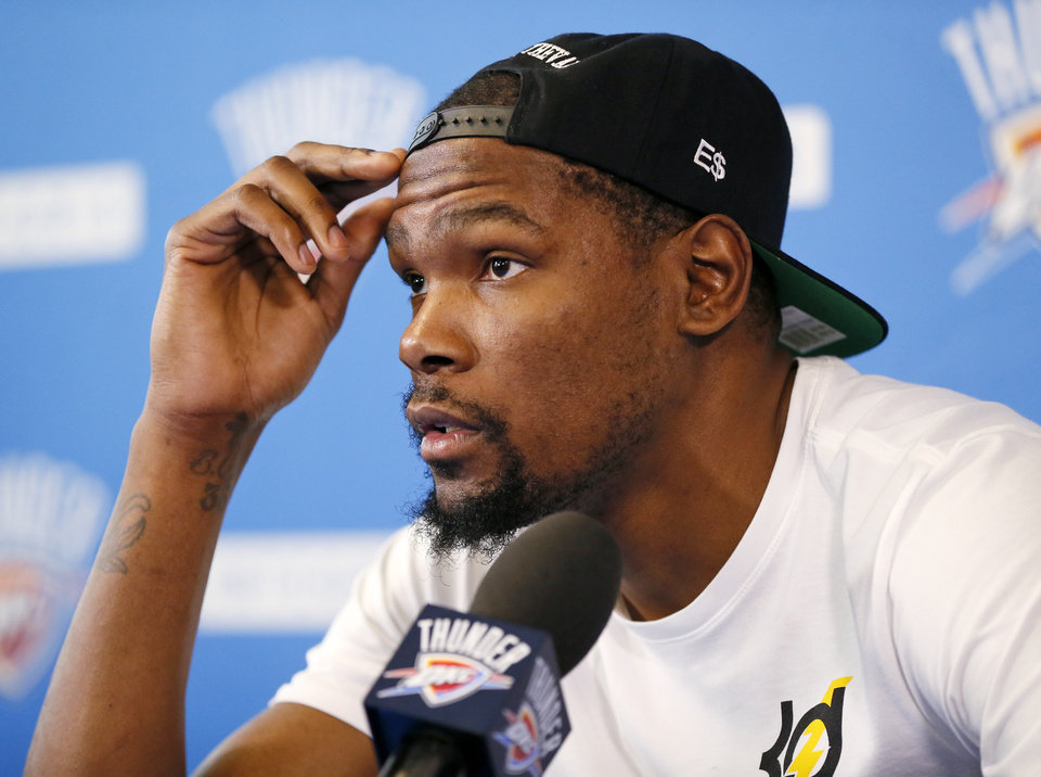 Photo -  Thunder star Kevin Durant becomes an unrestricted free agent at 12:01 a.m. Friday. [Photo by Nate Billings, The Oklahoman]
